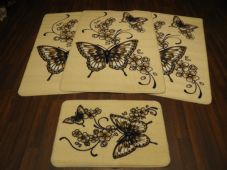 ROMANY GYPSY WASHABLES NEW 2017 BUTTERFLYS/SCROLL FULL SET OF 4 MATS/RUGS CREAM